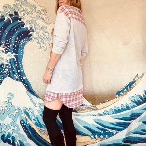 LeLis sweatshirt dress w/ madras shirt tail trim M